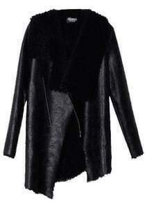 Black Long Sleeve Fur Asymmetrical Leather Coat