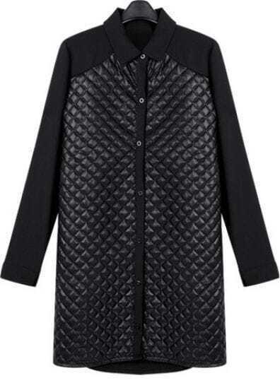 Black Contrast Diamond Patterned Leather Coat