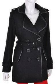 Black Long Sleeve Epaulet Drawstring Trench Coat