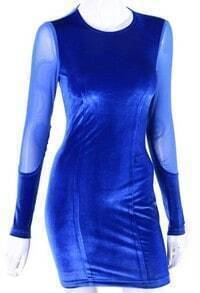 Blue Bodycon Velvet Dress With Mesh Inserts