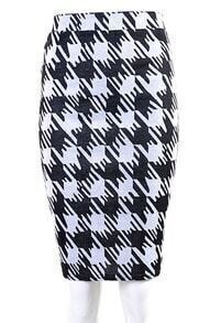 Black White Houndstooth Midi Pencil Skirt