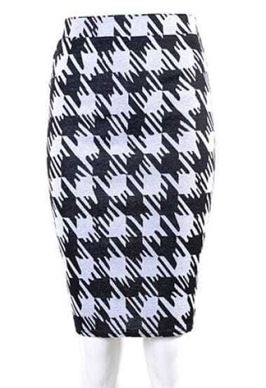 Black White Houndstooth Midi Pencil Skirt