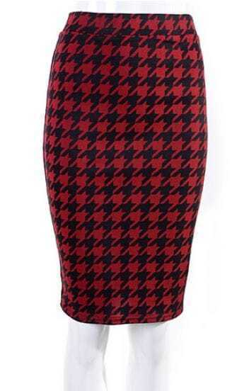 Black Red Houndstooth Midi Pencil Skirt