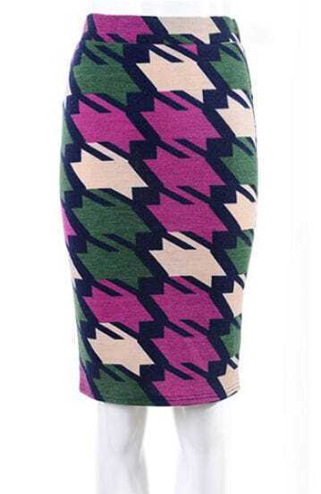 Purple Green Houndstooth Midi Pencil Skirt