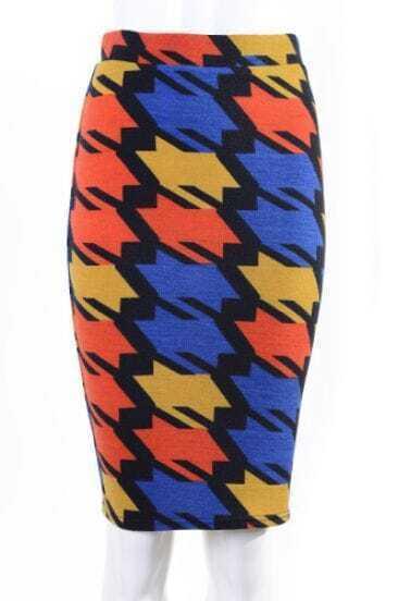 Yellow Blue Houndstooth Midi Pencil Skirt