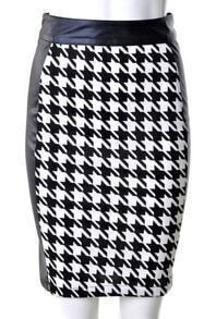 Black White Houndstooth Leather Back Midi Pencil Skirt