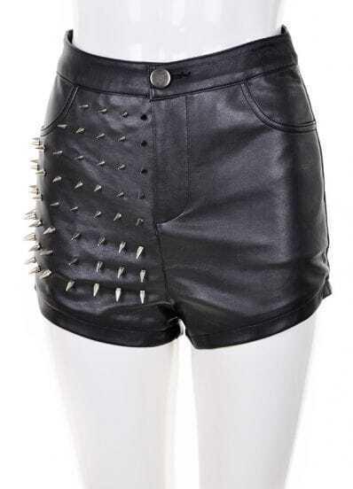 Black Rivet Embellished Leather Shorts