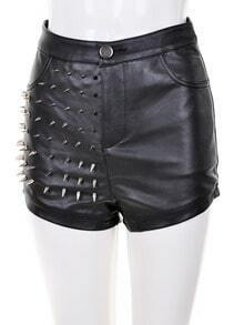 Black Rivet Embellished Leather Shorts
