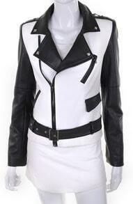 White Contrast Leather Long Sleeve Drawstring Crop Coat