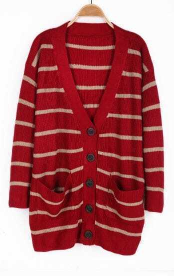 Red and Apricot Striped V-neck Pockets Front Sweater Coat