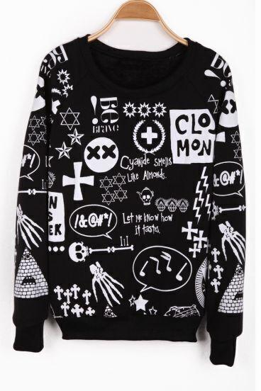 Black Long Sleeve Sign Print Pullover Sweatshirt