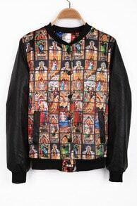 Black Long Sleeve Church Print Asymmetrical PU Jacket