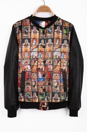 Black Long Sleeve Church Print Asymmetrical PU Jacket