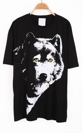 Black Short Sleeve Wolf Print Loose T-Shirt