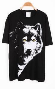Black Short Sleeve Wolf Print Loose T-Shirt