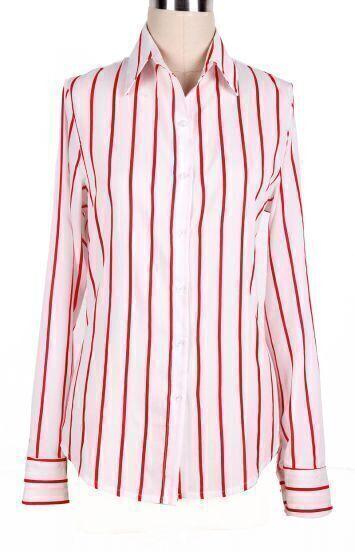 Red White Lapel Vertical Stripe Long Sleeve Blouse