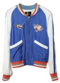 Blue Long Sleeve Dragon Embroidery Crop Jacket
