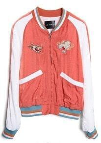 Red Long Sleeve Dragon Embroidery Crop Jacket