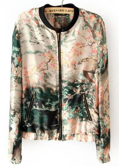 Pink Long Sleeve Ink Painting Print Jacket