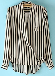 Black Beige Vertical Stripe Stand Collar Blouse