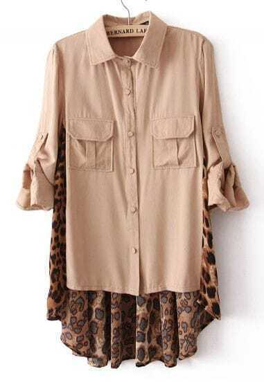 Nude Contrast Leopard High-Low Chiffon Blouse