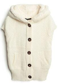 White Hooded Short Sleeve Tank Cardigan Sweater