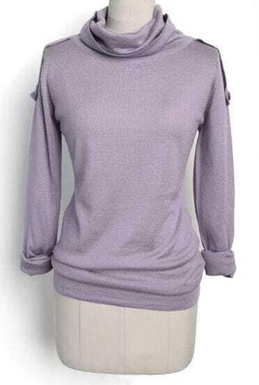 Purple Shawl Collar Long Sleeve Epaulet Sweater