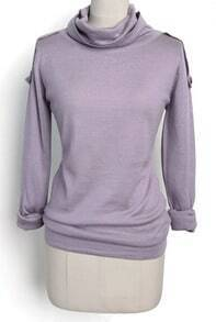 Purple Shawl Collar Long Sleeve Epaulet Sweater