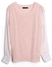 Pink Contrast Chiffon Sleeve Diamond Patterned Sweater