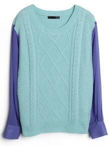 Blue Contrast Chiffon Sleeve Diamond Patterned Sweater