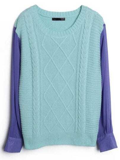 Blue Contrast Chiffon Sleeve Diamond Patterned Sweater