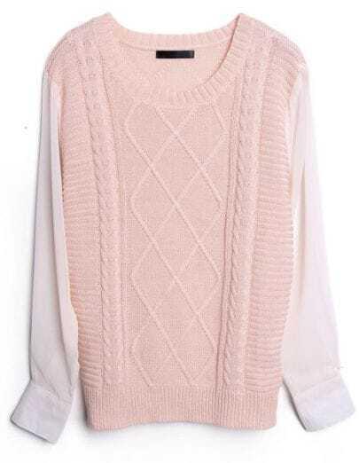 Pink Contrast Chiffon Sleeve Diamond Patterned Sweater