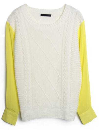 White Contrast Chiffon Sleeve Diamond Patterned Sweater
