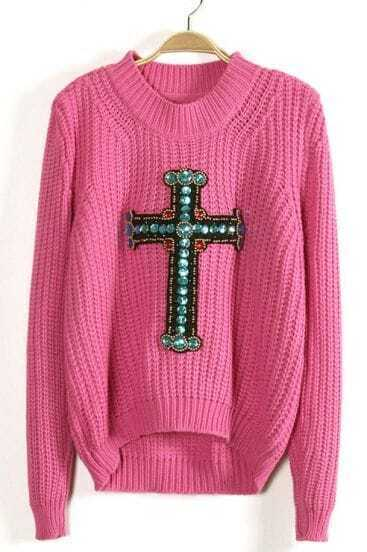 Pink Long Sleeve Beading Cross Sweater