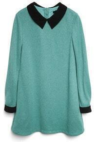 Turquoise Contrast Collar Back Buttons Dress