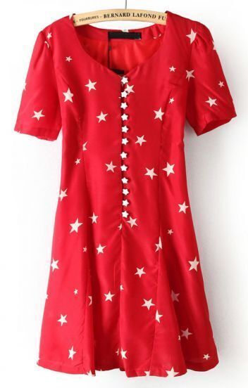Red Short Sleeve Stars Print Buttons Dress