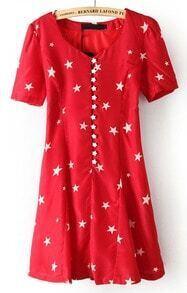 Red Short Sleeve Stars Print Buttons Dress