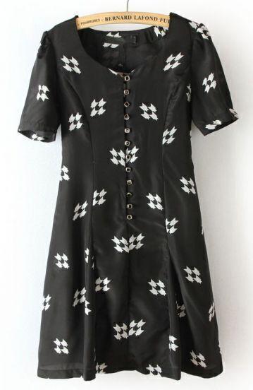 Black Short Sleeve Geometric Print Buttons Dress