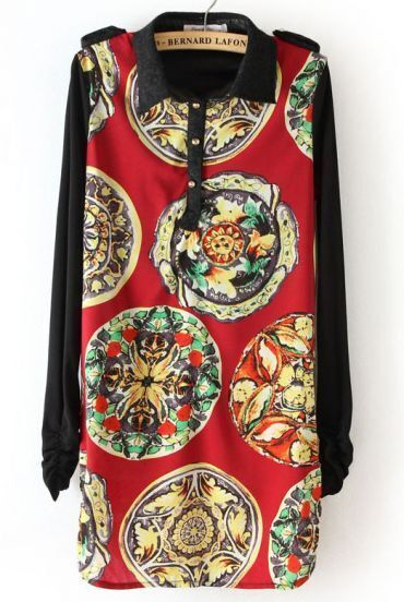 Red Black Long Sleeve Totem Print Epaulet Dress