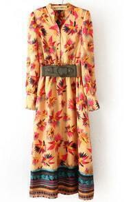 Yellow Long Sleeve Floral Buttons Full-Length Dress