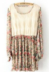 White Beige Long Sleeve Lace Pleated Chiffon Dress
