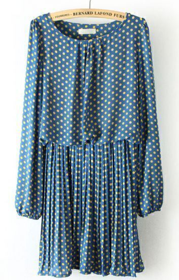 Blue Long Sleeve Polka Dot Pleated Chiffon Dress