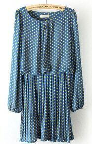 Blue Long Sleeve Polka Dot Pleated Chiffon Dress