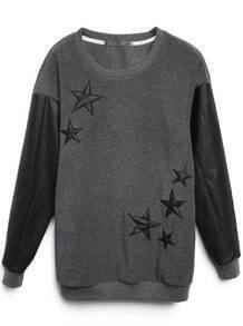 Dark Grey Contrast Leather Sleeve Stars Pattern Sweatshirt