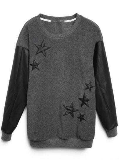 Dark Grey Contrast Leather Sleeve Stars Pattern Sweatshirt