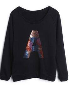 Black Long Sleeve Sequined A Loose Sweatshirt