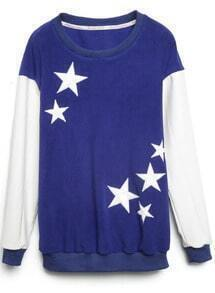 Blue Contrast Leather Sleeve Stars Pattern Sweatshirt