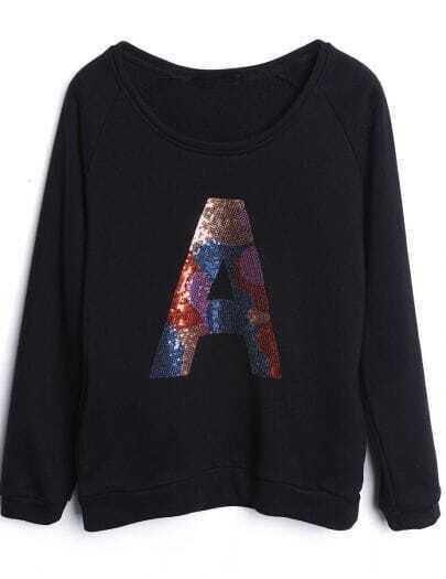 Black Long Sleeve Sequined A Loose Sweatshirt