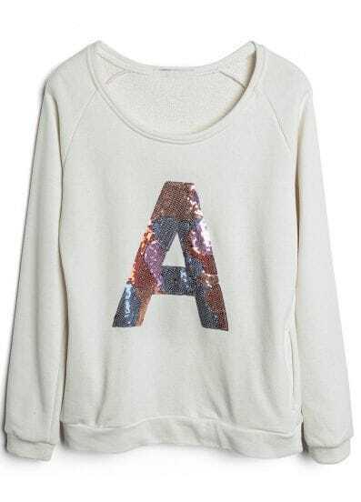 Beige Long Sleeve Sequined A Loose Sweatshirt
