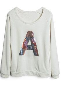 Beige Long Sleeve Sequined A Loose Sweatshirt